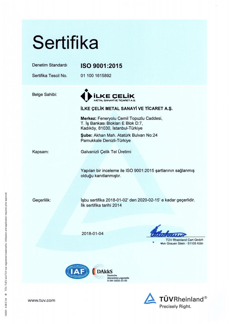 ISO9001:2015 Sertifikamız